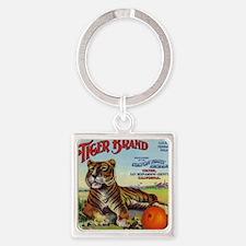 Tiger Oranges Square Keychain