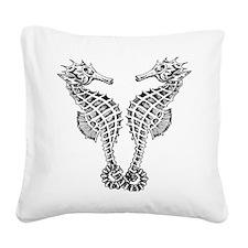 seahorse love Square Canvas Pillow