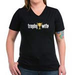 Trophy Wife Women's V-Neck Black T-Shirt