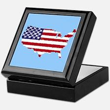 USA Outline Flag v4 Keepsake Box