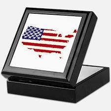 USA Outline Flag v5 Keepsake Box