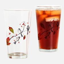 Chickadees Drinking Glass