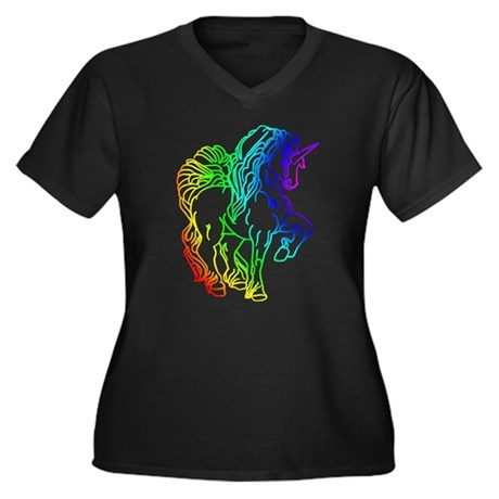 Rainbow Unicorn Women's Plus Size V-Neck Dark T-Sh