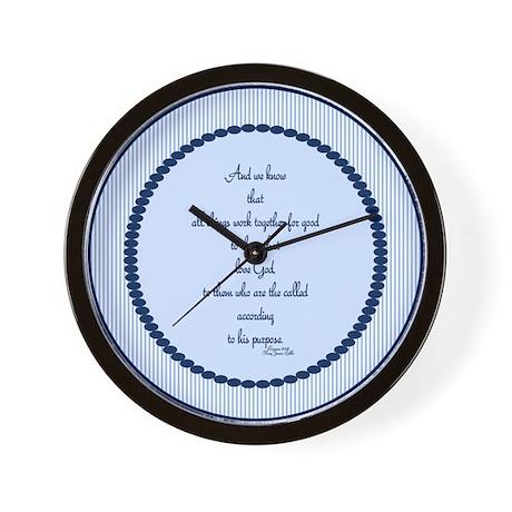 Romans 8 28 Bible Verse blue Wall Clock by Admin_CP2096987