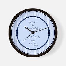 Romans 8 28 Bible Verse blue Wall Clock