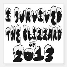 "I Survived The Blizzard  Square Car Magnet 3"" x 3"""