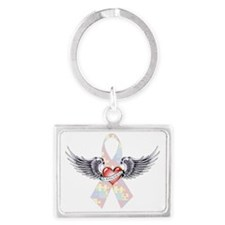 Autism Awareness Ribbon with He Landscape Keychain