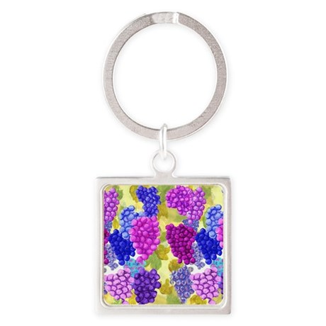 grapes with grape leaves vineyard Square Keychain