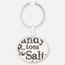 Sandy Toes Salty Kisses Oval Keychain