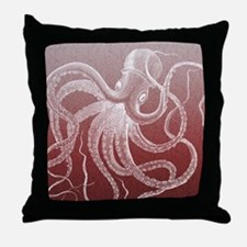 sea monster brown red Throw Pillow