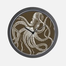 sea monster brown Wall Clock