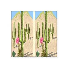 """desert cactus flip flops Square Sticker 3"""" x 3"""""""