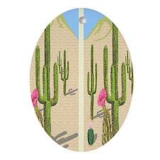 desert cactus flip flops Oval Ornament