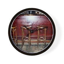 Bar Stools in Pub Wall Clock