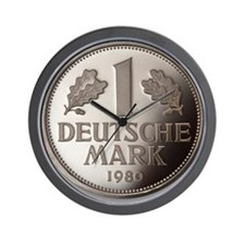 Deutschmark coin, close-up, elevated vi Wall Clock