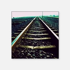 "Close-up of railway tracks Square Sticker 3"" x 3"""