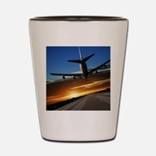 XL jumbo jet airplane landing at sunset Shot Glass