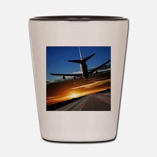 XL jumbo jet airplane landing at sunset Shot Glass