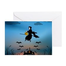 Church with witch and bats at sunset Greeting Card