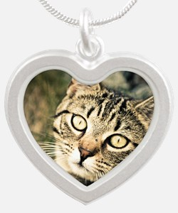 Domestic Cat Silver Heart Necklace