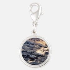 Earth viewed from a satellite Silver Round Charm