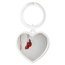 Exercise Equipment in a Locker Room Heart Keychain