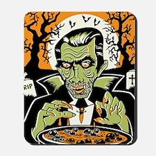 Vampire at Cauldron on Halloween Mousepad