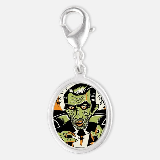 Vampire at Cauldron on Hallowee Silver Oval Charm