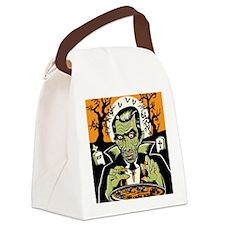 Vampire at Cauldron on Halloween Canvas Lunch Bag