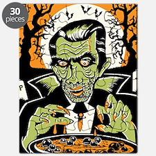 Vampire at Cauldron on Halloween Puzzle