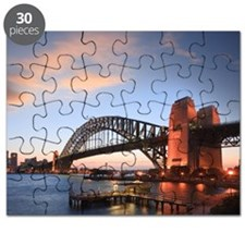 Sydney Harbour Bridge Twilight Sunset Squar Puzzle