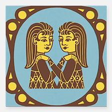 """Gemini Zodiac Symbol Square Car Magnet 3"""" x 3"""""""