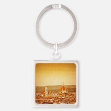 Duomo di Firenze on Grunge Texture Square Keychain