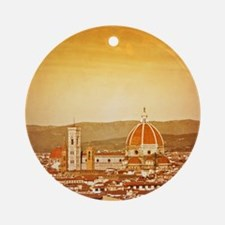 Duomo di Firenze on Grunge Texture  Round Ornament