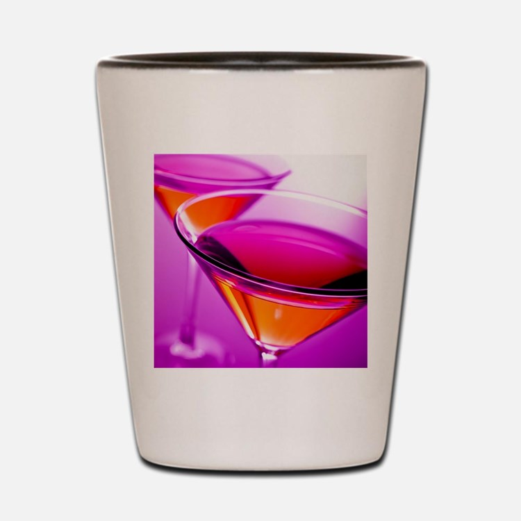 Two Red martini's in pink glasses Shot Glass
