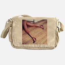 Woman's Legs in Fishnet Stockings on Messenger Bag