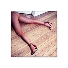 "Woman's Legs in Fishnet Sto Square Sticker 3"" x 3"""