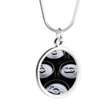Eleven wet beer cans outdoor Silver Round Necklace