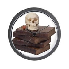 stack of books with skull Wall Clock