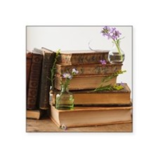 """Flowers on old books Square Sticker 3"""" x 3"""""""