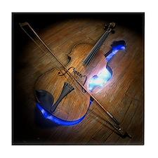 Violin leaving mold in wooden floor,  Tile Coaster
