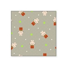 """Rabbits on top of presents Square Sticker 3"""" x 3"""""""
