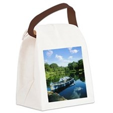 Row boat in pond Canvas Lunch Bag