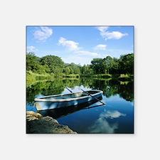 "Row boat in pond Square Sticker 3"" x 3"""