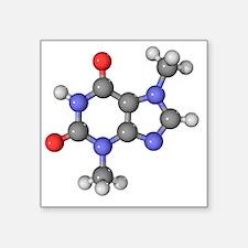 """Theobromine molecule Square Sticker 3"""" x 3"""""""