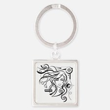 hair style Square Keychain