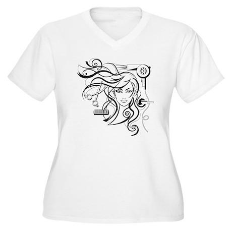hair style Women's Plus Size V-Neck T-Shirt
