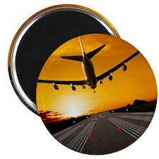 Jumbo jet airplane landing at sunset Magnet