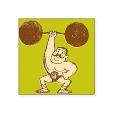 "Strongman Lifting Barbell Square Sticker 3"" x 3"""