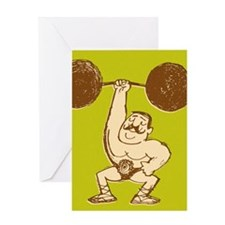 Strongman Lifting Barbell Greeting Card